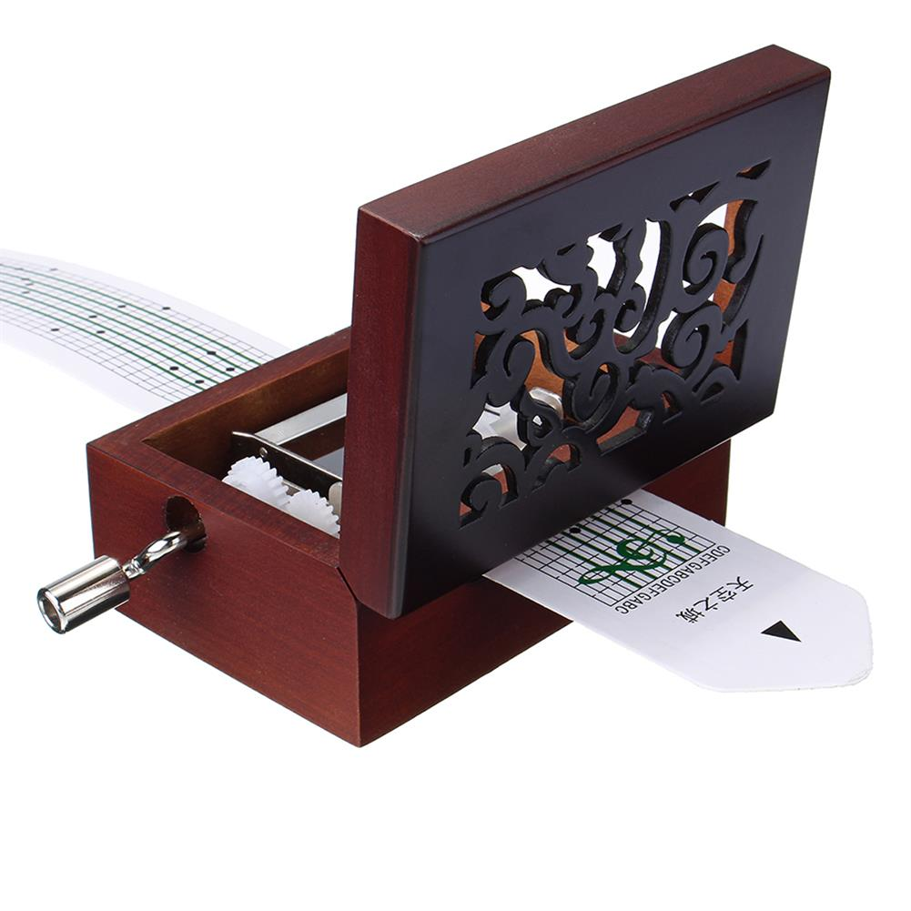 music-box 15 Tone DIY Hand Cranked Carved Music Box Classic Box with Hole Puncher 30 Pcs Paper Tapes HOB1392498 1