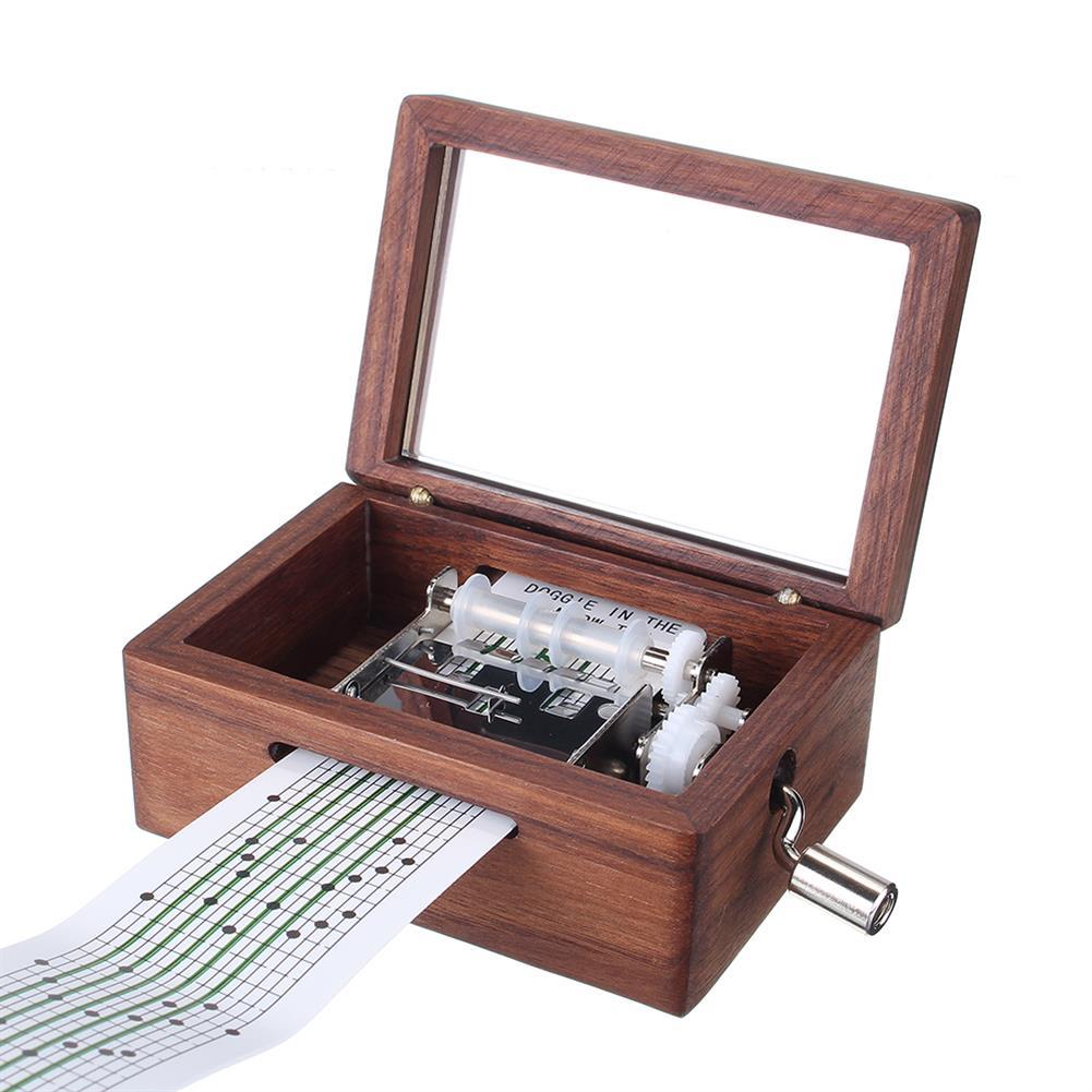 music-box 15 Tone DIY Hand Cranked Walnut Veneer Music Box with Hole Puncher 30Pcs Paper Tapes HOB1392499