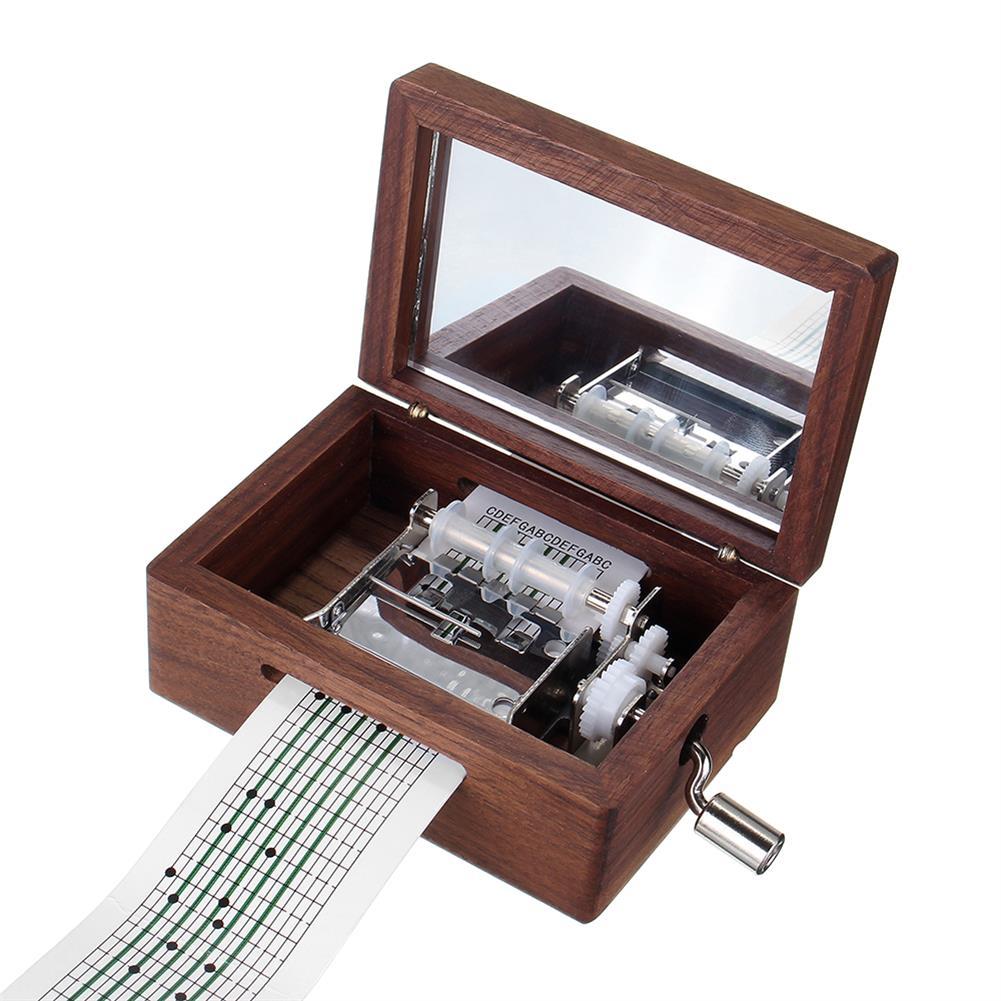 music-box 15 Tone DIY Hand Cranked Walnut Veneer Music Box with Hole Puncher 30Pcs Paper Tapes HOB1392499 1