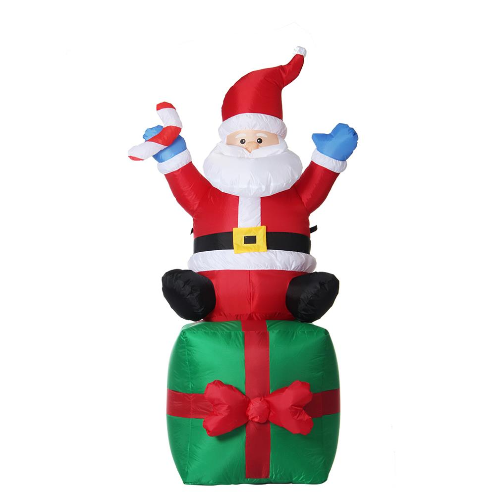 inflatable-toys 1.8M Christmas inflatable Toys Santa on Present Xmas Decoration Outdoor Garden Lights HOB1399344