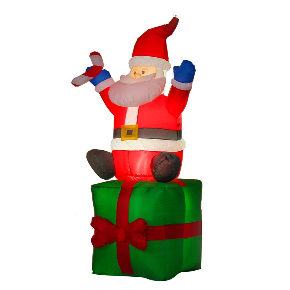 inflatable-toys 1.8M Christmas inflatable Toys Santa on Present Xmas Decoration Outdoor Garden Lights HOB1399344 1