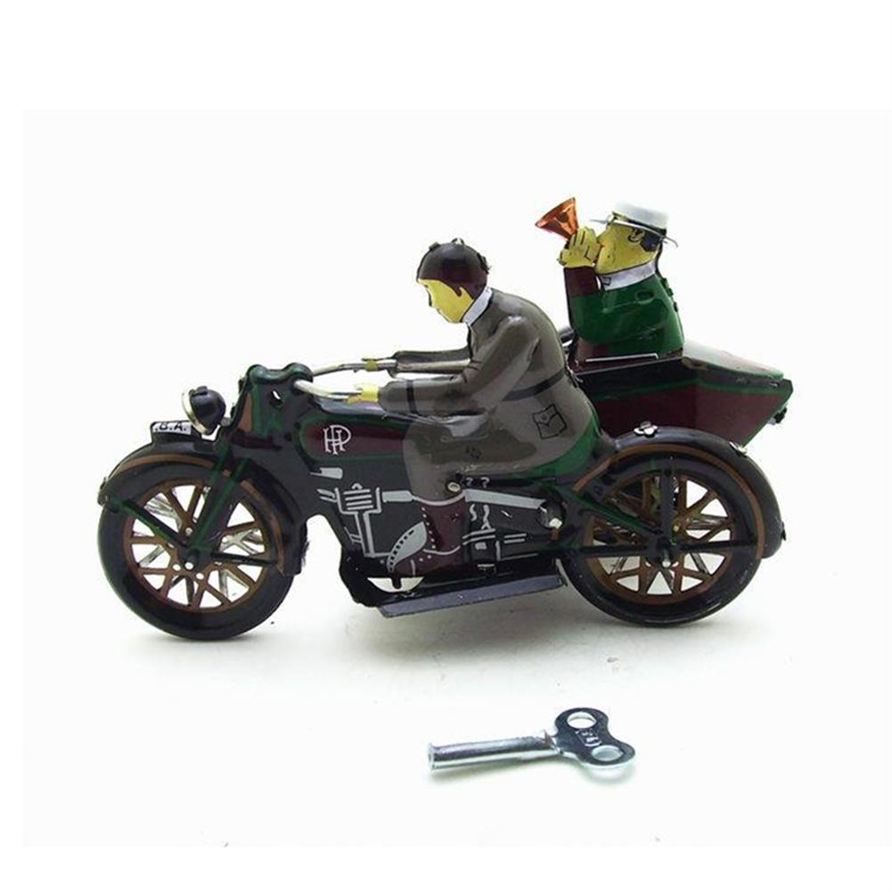 wind-up-tin-toys Motorcycle with Passenger in Sidecar Retro Clockwork Wind Up Tin Toys with Box HOB1399548