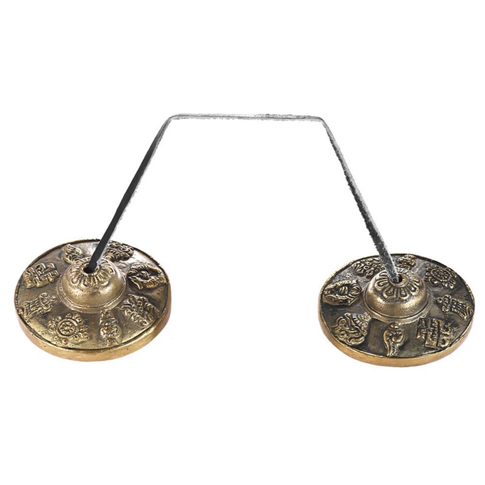 folk-world-percussion Zebra Handcrafted Tibetan Meditation Bell Tingsha Cymbal Bells with Buddhist HOB1409053 1