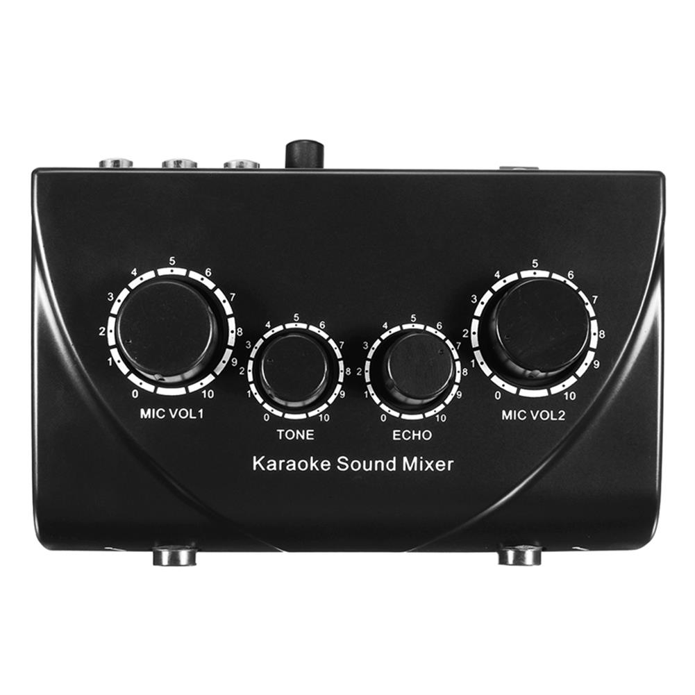 dj-mixers-equipment Professional Mini Karaoke Audio Mixer Dual Mic inputs with Cable for Stage Home KTV HOB1409056 1