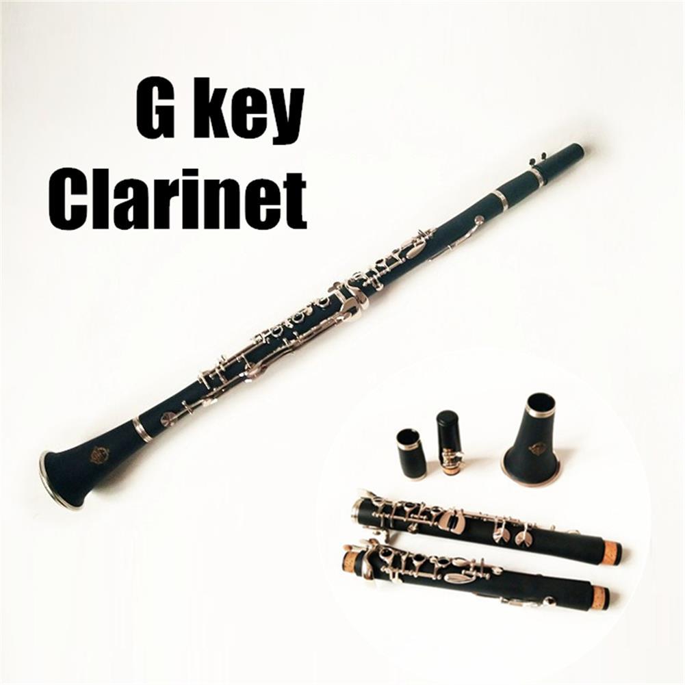 clarinet Professional G Tune Clarinet Wood Body Brass Nickel Plated Key with Box HOB1411319