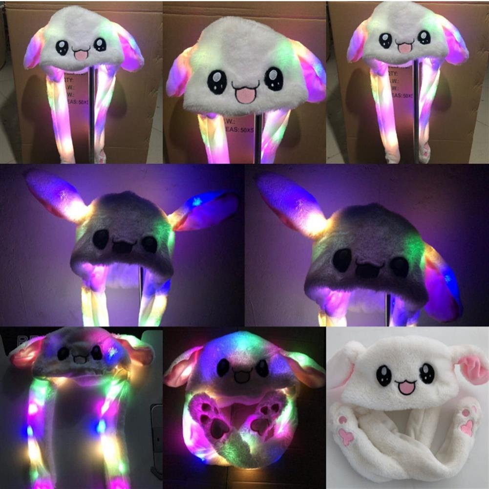 stuffed-plush-toys LED Light Rabbit Ear Hat Can Move Airbag Cap 60CM Electric Stuffed Plush Gift Valentines Dance Toy HOB1411426
