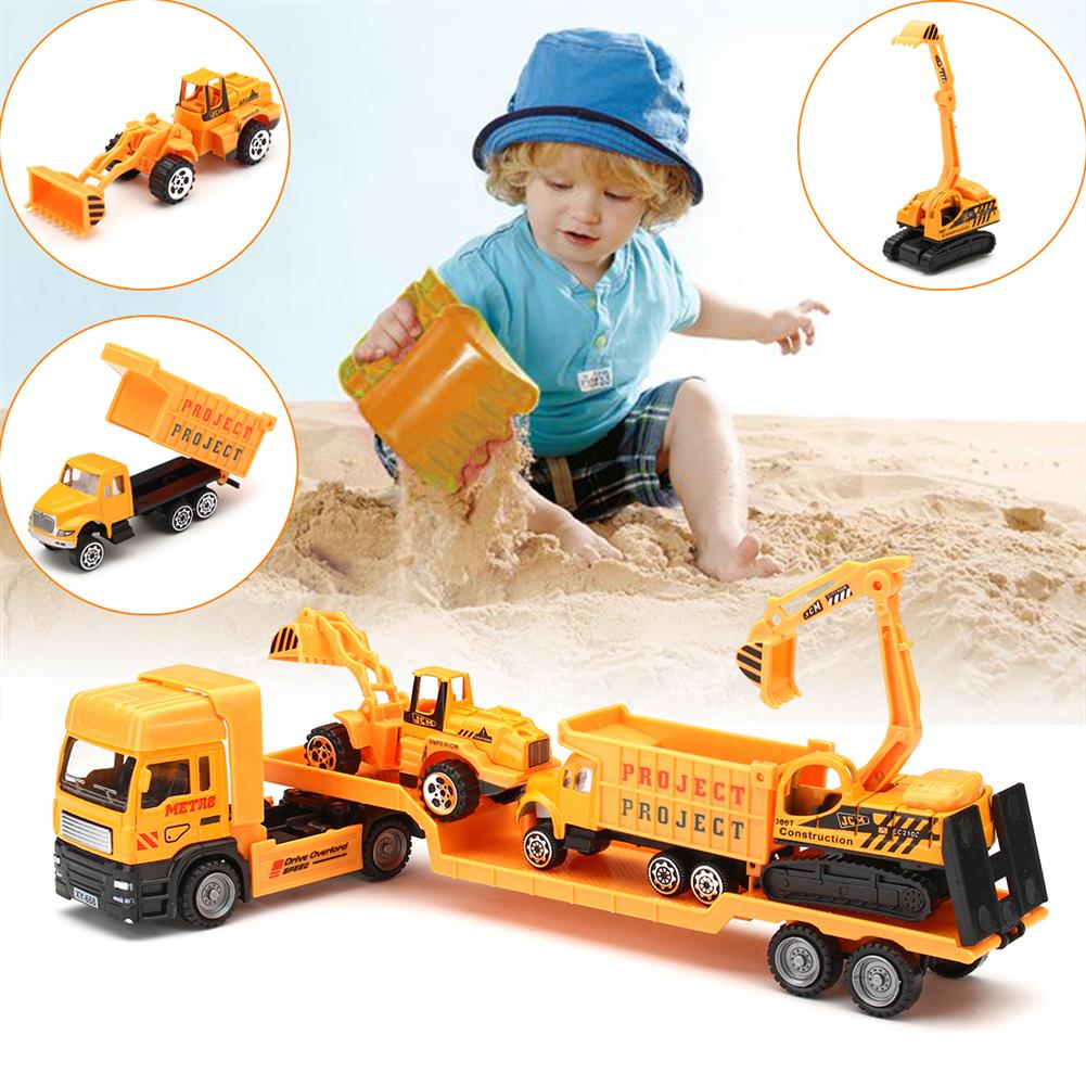 diecasts-model-toys 4in1 Kids Toy Recovery Vehicle Tow Truck Lorry Low Loader Diecast Model Toys Construction Xmas HOB1414450