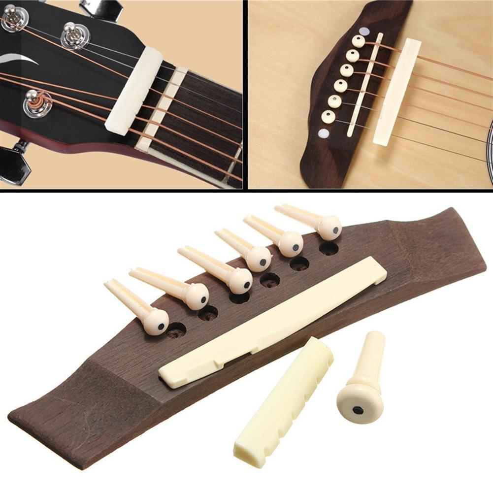 guitar-accessories 1 Set Professional Guitar Kit Acoustic Guitar Bridge with Bone Pins Saddle Nut HOB1423148