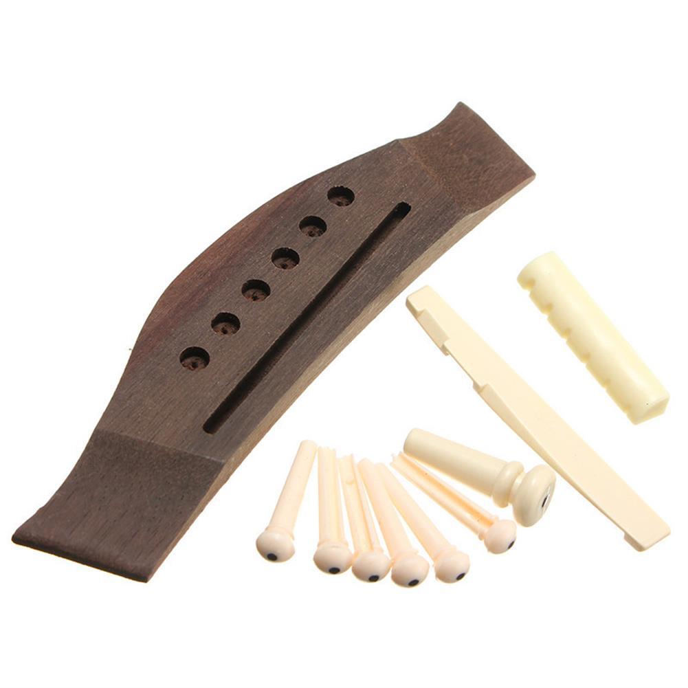 guitar-accessories 1 Set Professional Guitar Kit Acoustic Guitar Bridge with Bone Pins Saddle Nut HOB1423148 1