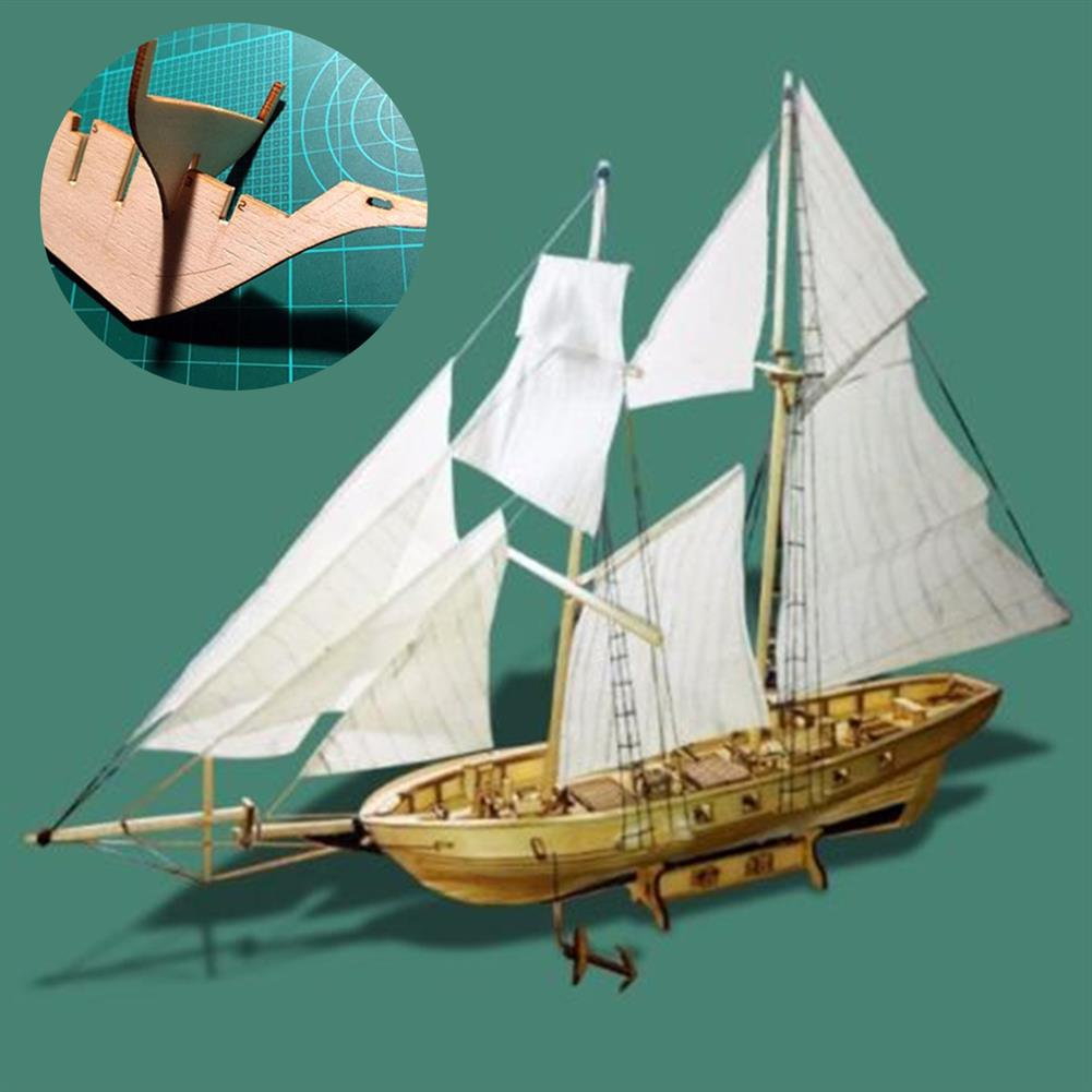 puzzle-game-toys 1:130 Scale Sailing Boats Model Assembly Wooden Sail Boat Home Decorations HOB1441009 2