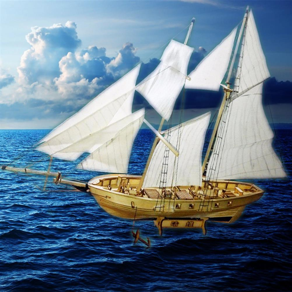 puzzle-game-toys 1:130 Scale Sailing Boats Model Assembly Wooden Sail Boat Home Decorations HOB1441009 3