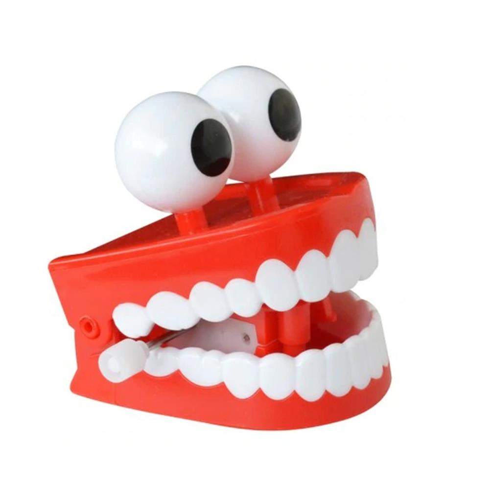 wind-up-tin-toys 1Pc Clockwork Jumping Teeth Red Wind Up Funny Mouth Tooth with Eyes Flashing Novelties Trick Toys HOB1441349 1