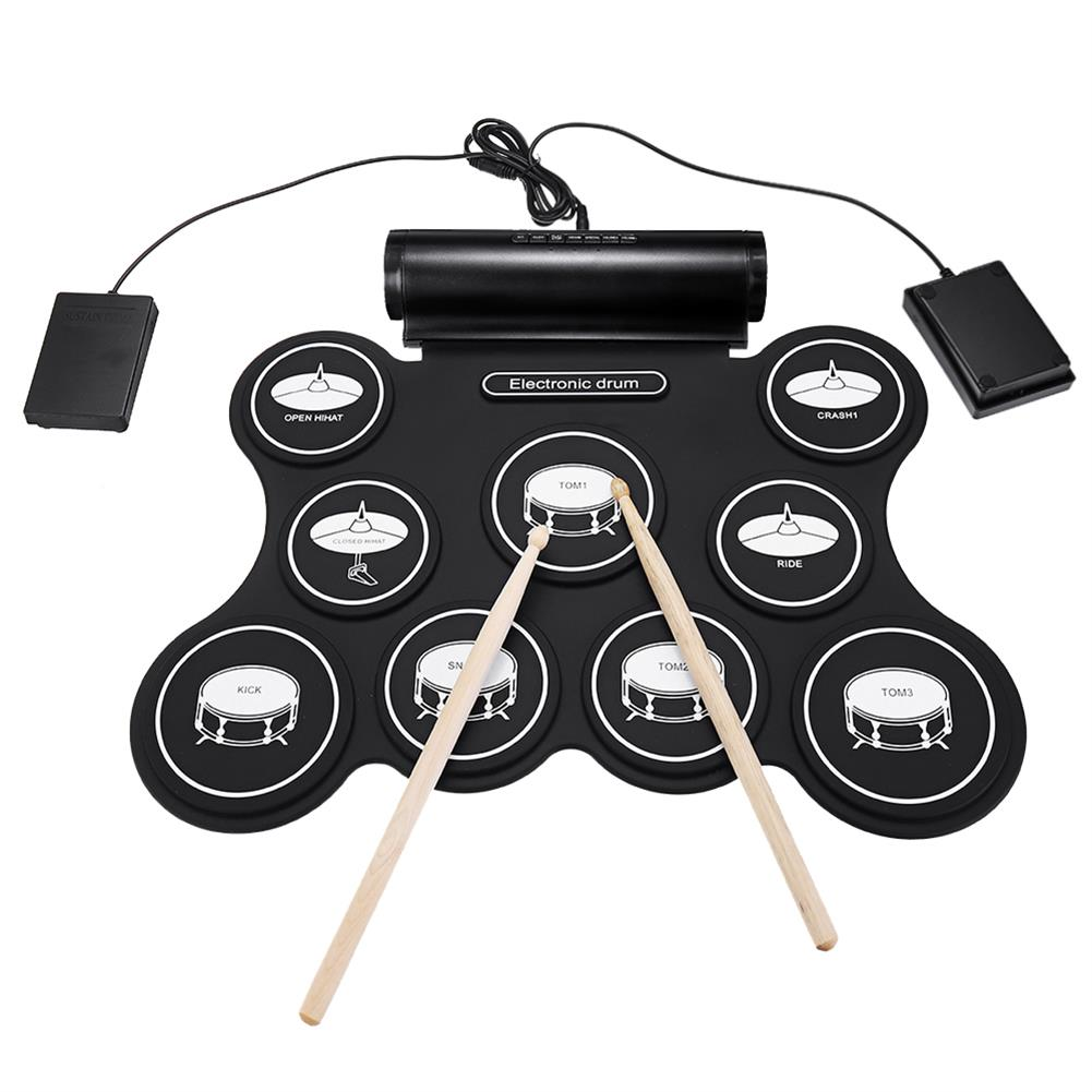 electronic-drums iword G3009L 9 Pad Electronic Roll Up Drum Portable Electronic Drum Kit USB MIDI Drum with Drumsticks Foot Pedals HOB1441930 1