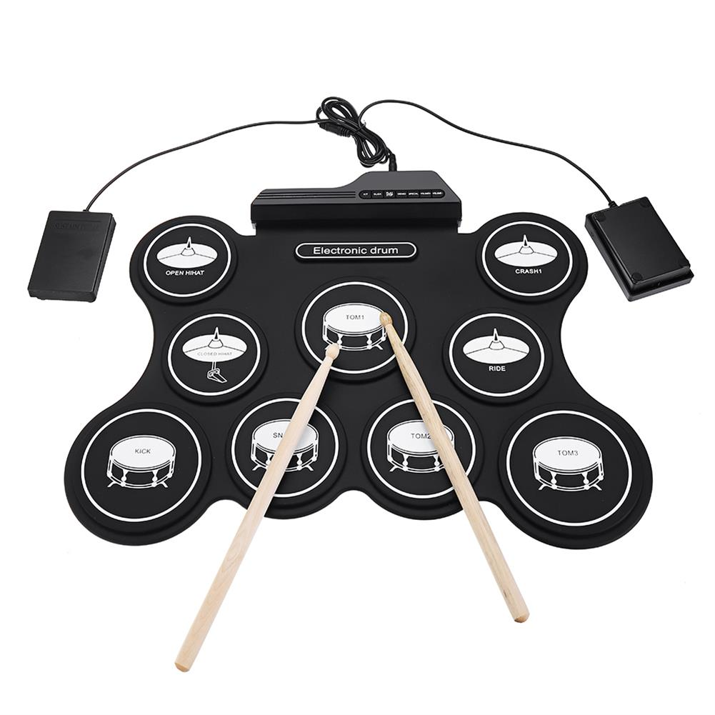 electronic-drums iword G4009 9 Pads Electronic Drum Portable Roll Up Drum Kit USB MIDI Drum with Drumsticks Foot Pedal for Beginners HOB1441931