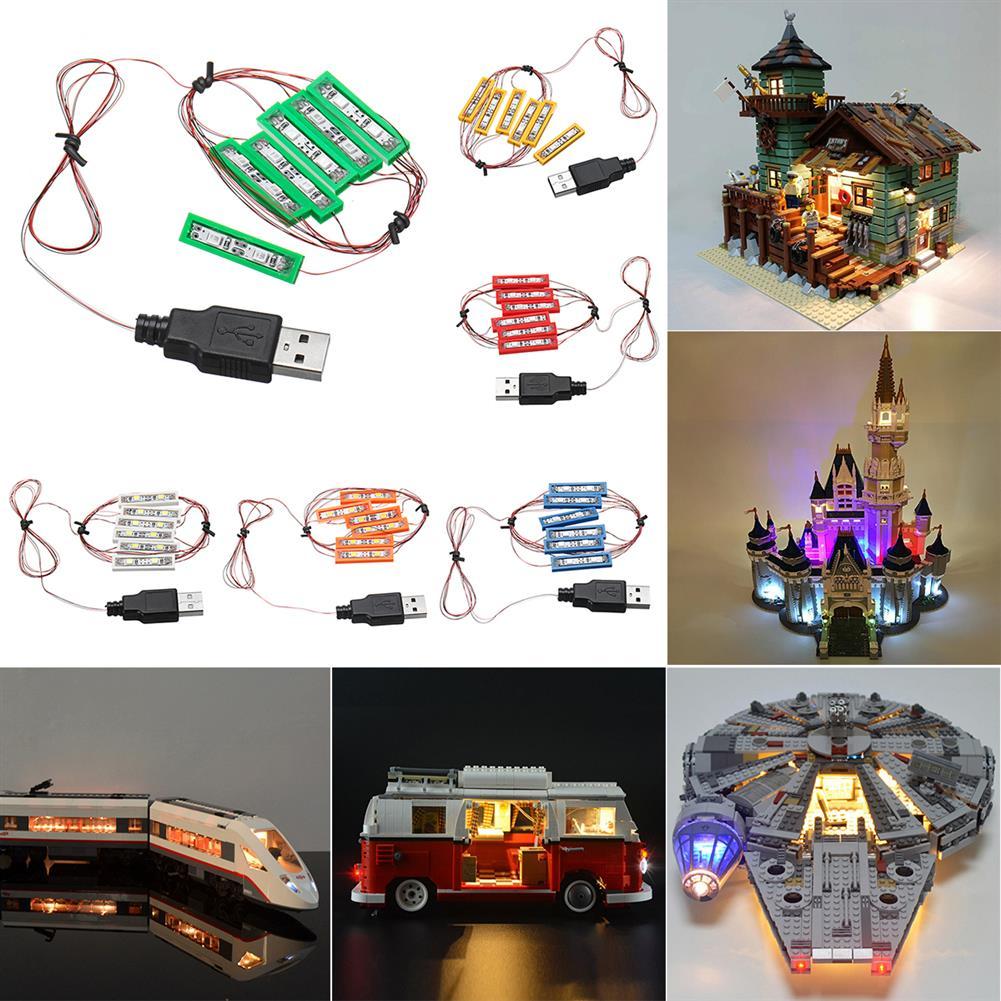 blocks-track-toys Universal DIY LED Light Brick Kit for Lego MOC Toys USB Port Blocks Accessories Decor HOB1444426