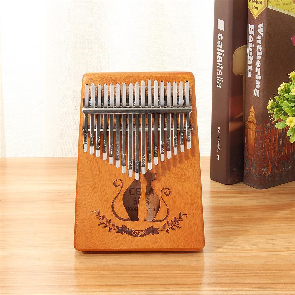 kalimba 17 Key Mahogany Kalimba Veneer Mini Thumb Piano Keyboard Carved Tone instrument HOB1452036 1