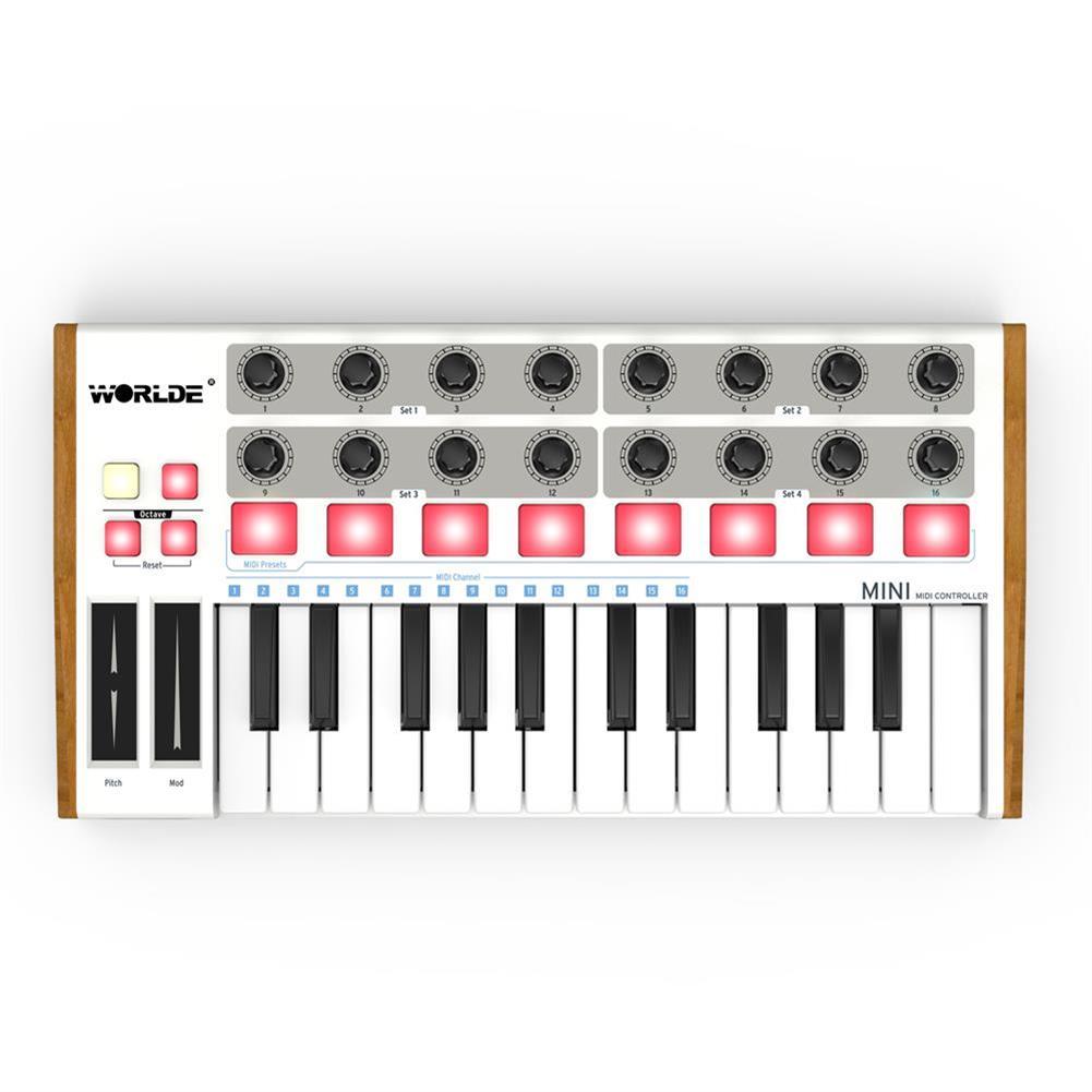 midi-controllers Worlde Professional 25-Key MIDI Keyboard Controller USB MIDI Drum Pad and Ultra-Portable Mini MIDI Controller Electronic Audio HOB1452038