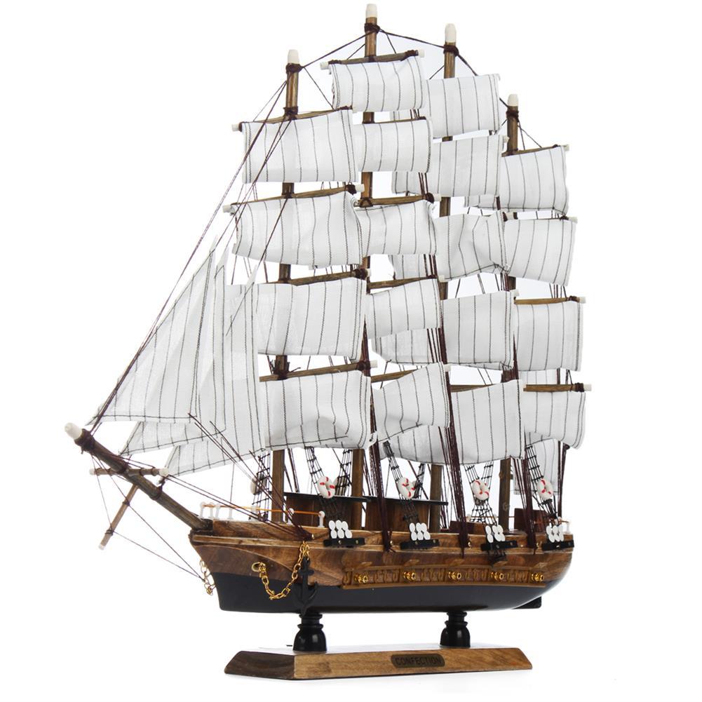 blocks-track-toys 50cm Handmade Wooden Sailing Boats Model Assembly Nautical Ship Schooner Boat Decorations Gift HOB1452230