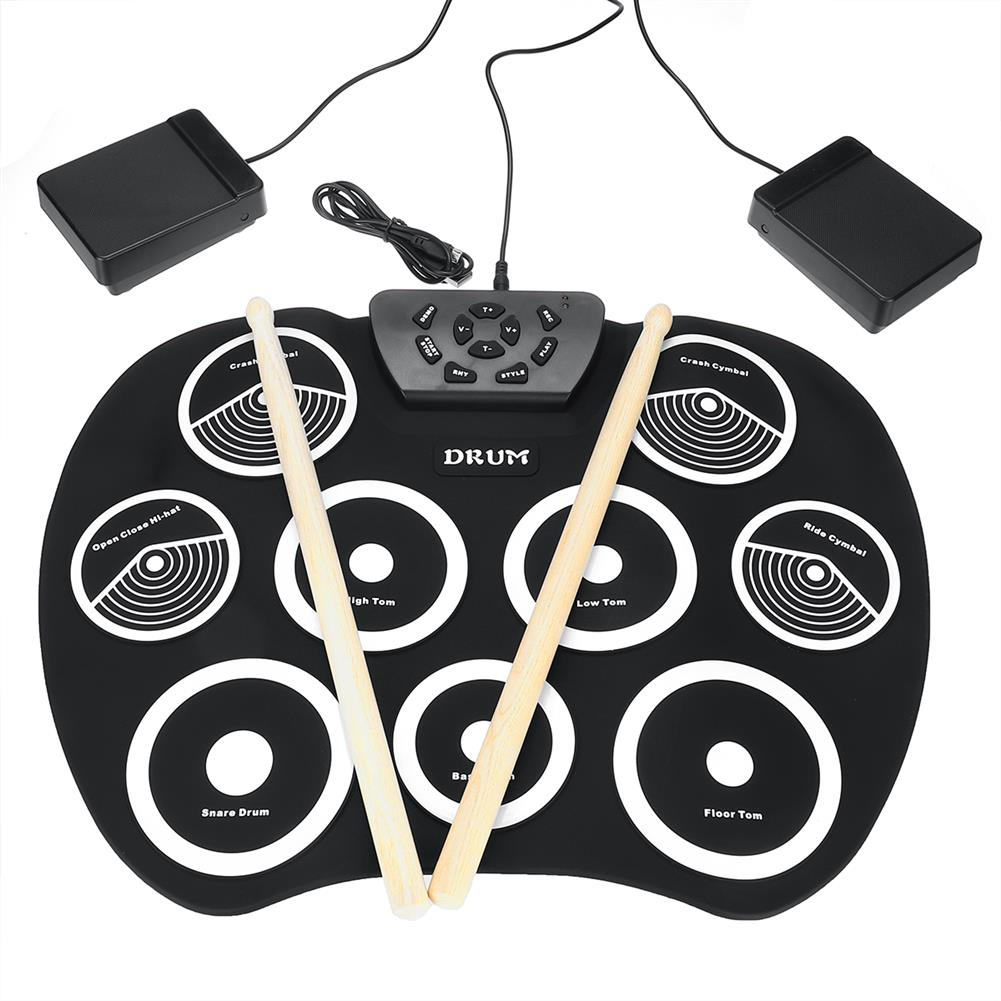 electronic-drums Portable Electronic Roll Up Drum Set Kit 9 Silicon Pad for Beginner HOB1453012