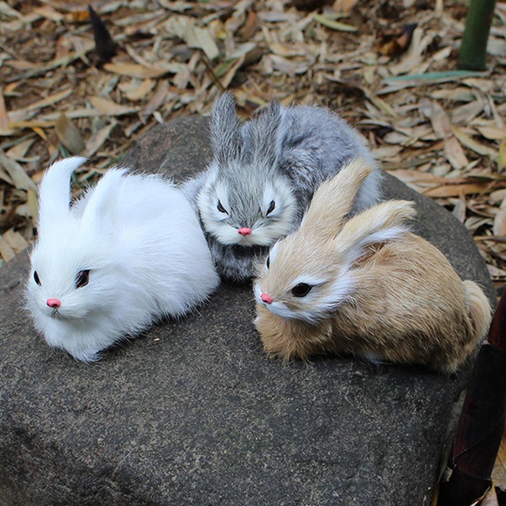 stuffed-plush-toys 15cm Mini Realistic Cute White Plush Rabbits Fur Lifelike Animal Furry Easter Bunny Stuffed Plush Toy HOB1453128