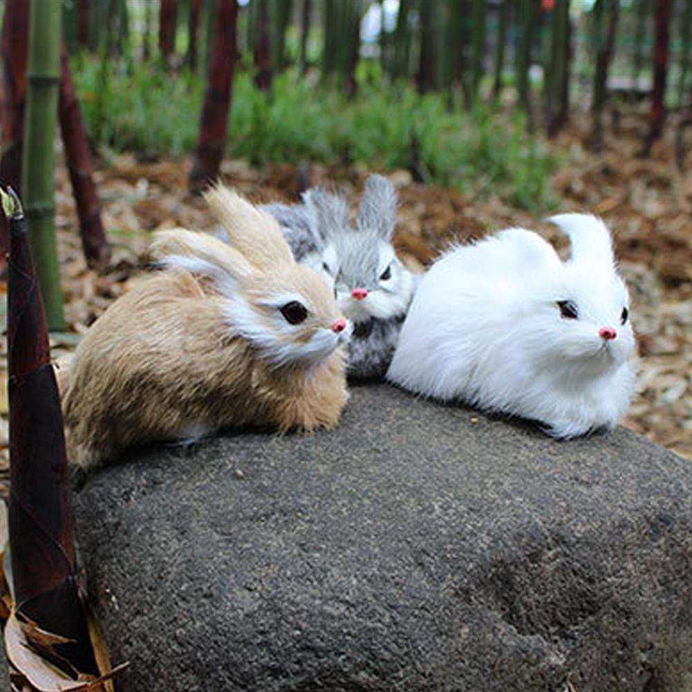 stuffed-plush-toys 15cm Mini Realistic Cute White Plush Rabbits Fur Lifelike Animal Furry Easter Bunny Stuffed Plush Toy HOB1453128 1