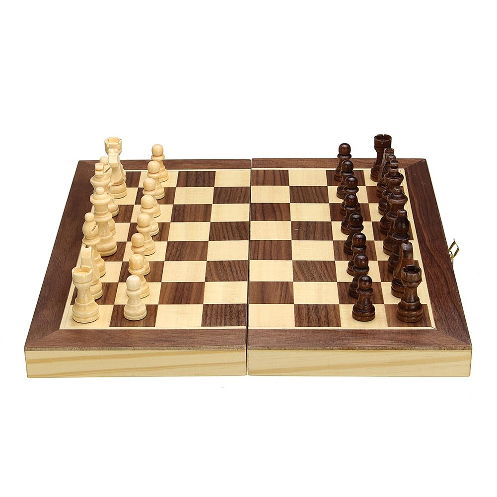 puzzle-game-toys Wood Chess Wooden Magnetic Board Hand Crafted Folding Chessboard Travel Game Set HOB1458423