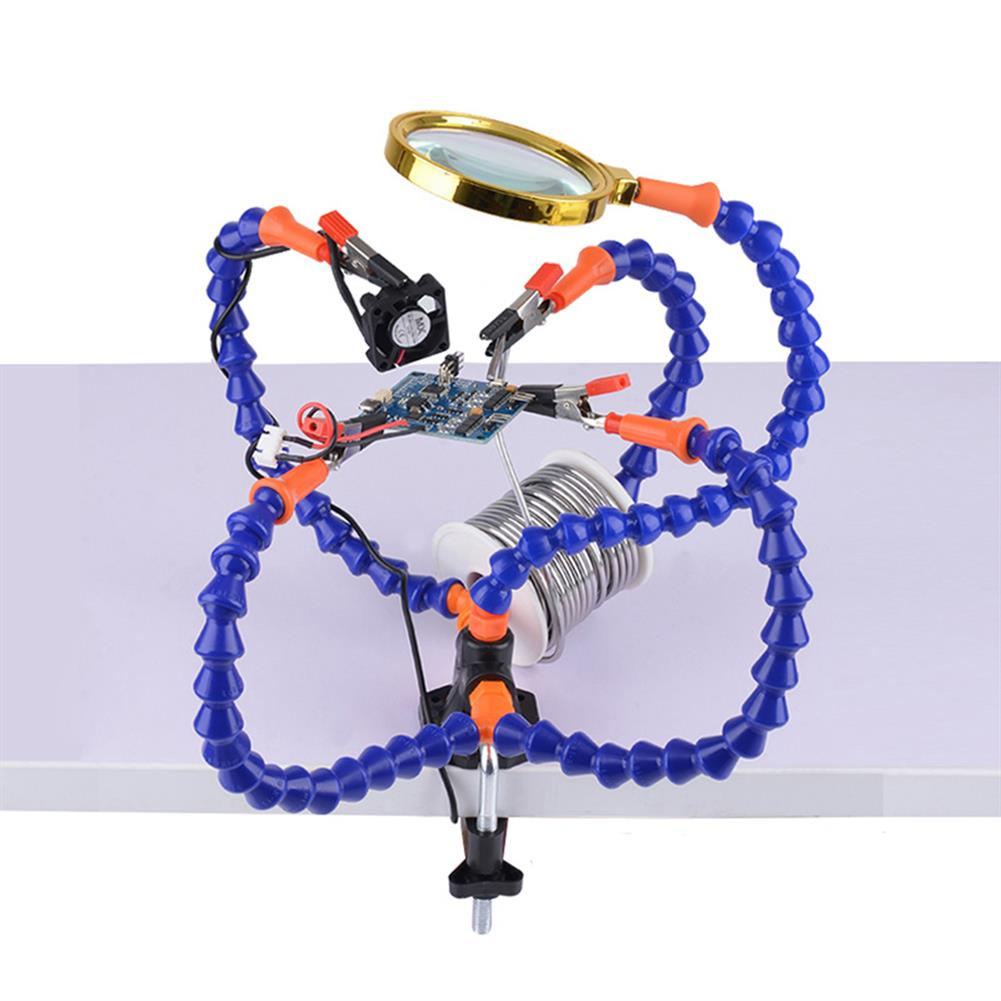 tools-bags-storage Multifunctional Soldering Station Third Hand Tool with 3/5 Flexible Arms Soldeirng Iron Holder Fan for PCB Welding Repair HOB1467122 2