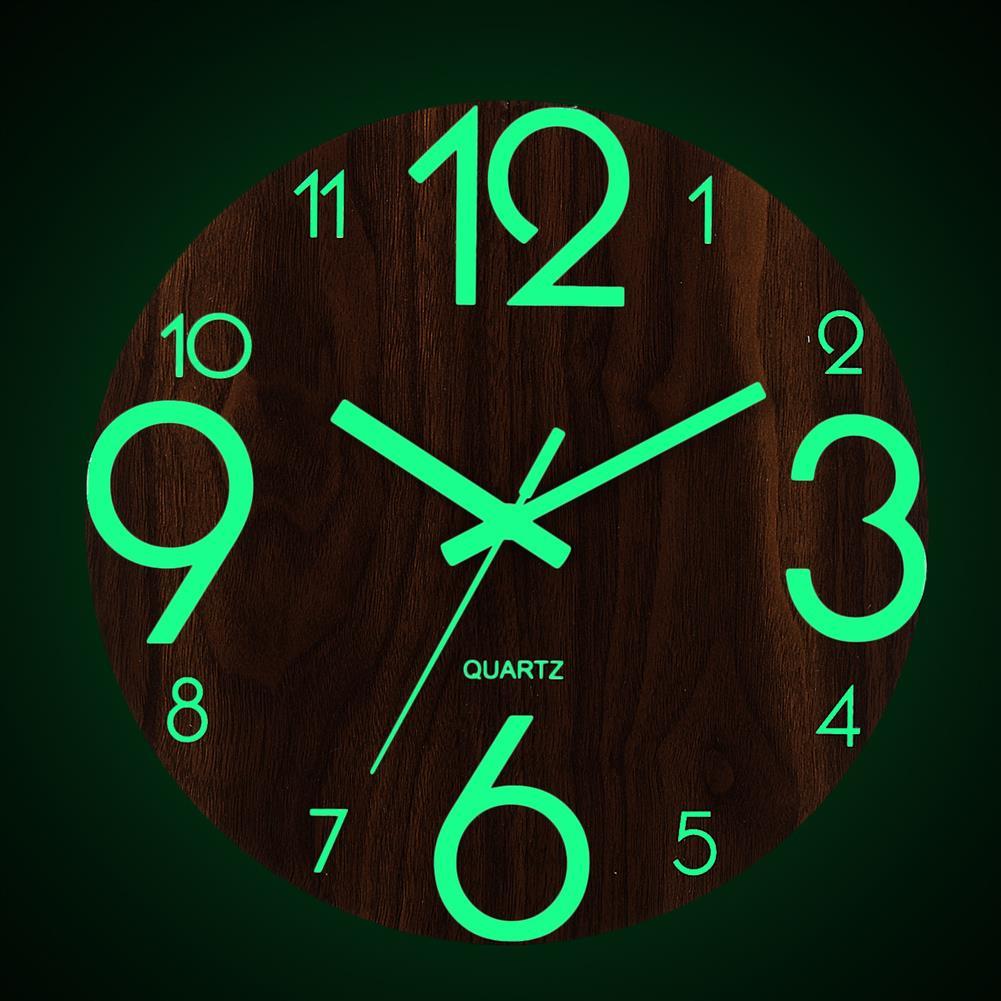 decoration 12 Luminous Wall Clock Quartz Wooden Silent Non Ticking Dark Home Room Decor HOB1496359