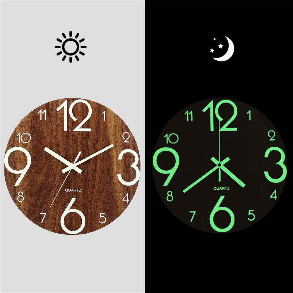 decoration 12 Luminous Wall Clock Quartz Wooden Silent Non Ticking Dark Home Room Decor HOB1496359 1