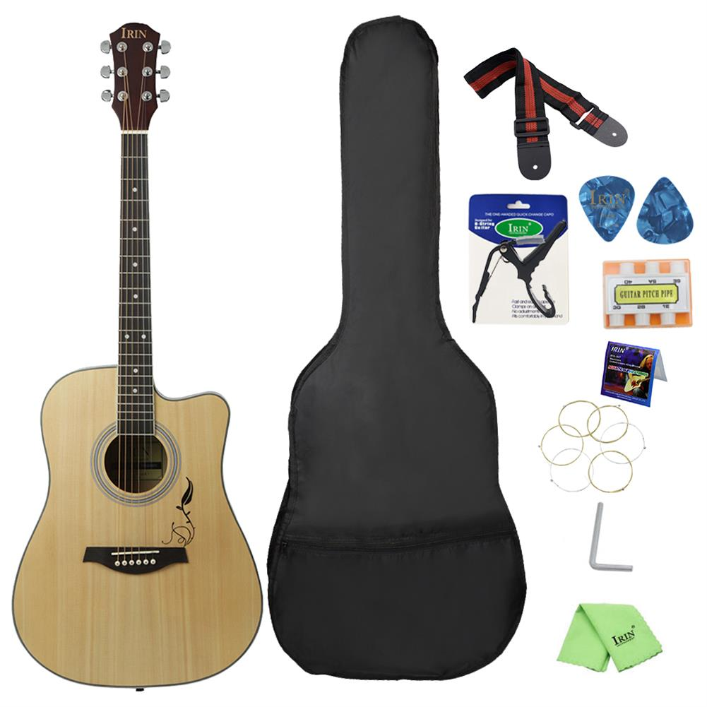 acoustic-guitars IRIN 41 inch Corner Horn Acoustic Guitar for Beginners with Guitar Bag/Pick/Strap/Pipe /Wrench/Cloth/Capo HOB1499312