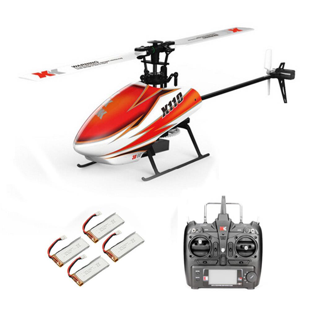 rc-helicopter XK K110 2.4G 6CH 3D Flybarless RC Helicopter RTF Compatible with FU-TABA S-FHSS with 4PCS 3.7V 450MAH Lipo Battery HOB1506639