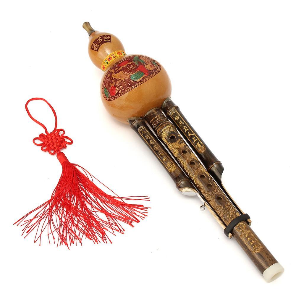 folk-world-winds Natural Bamboo Chinese Hulusi Gourd Cucurbit Flute Bb Tone Yunnan Ethnic Music instrument HOB1510271