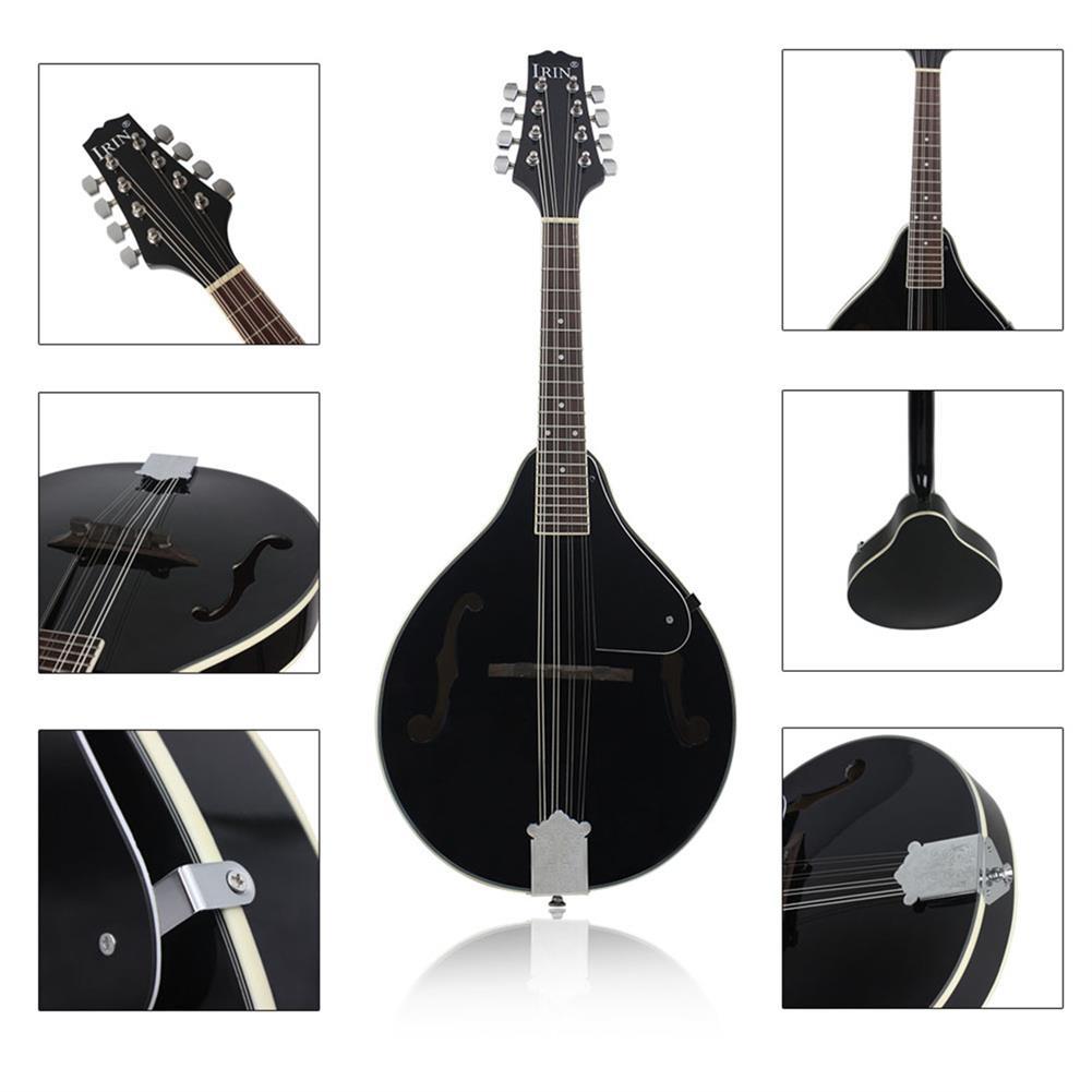 mandolin IRIN 8 strings Basswood Black Mandolin with bag/string/Picks/Rubbing cloth HOB1510329 1
