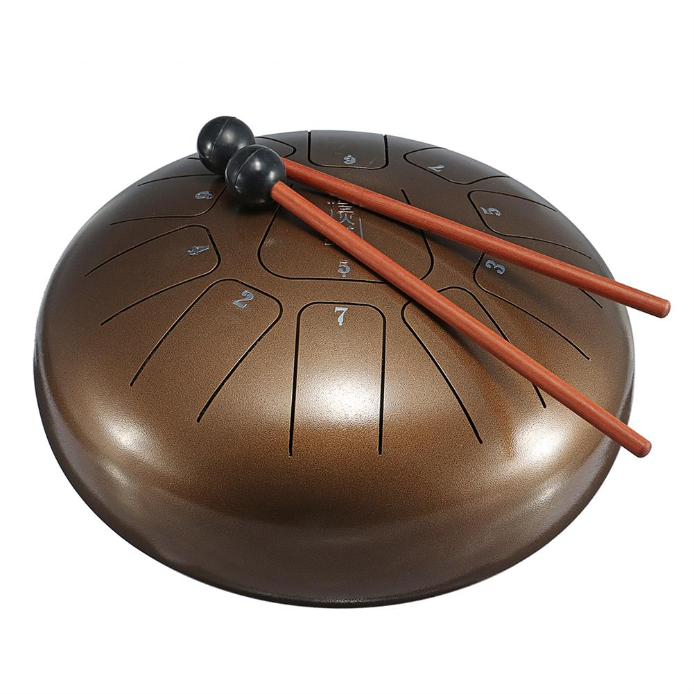 steel-drums HLURU 10 inch 11 Notes Bronze Steel Tongue Percussion Drums Handpan instrument with Drum Mallets and Bag HOB1512860