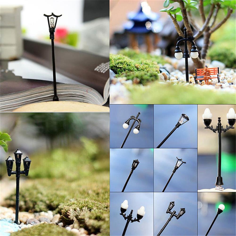 model-building HO OO Scale 5Pcs Resin Craft Mini Street Light Lamp Antique Imitation Fairy Garden Home Miniature DIY Micro Landscape HOB1514541 3