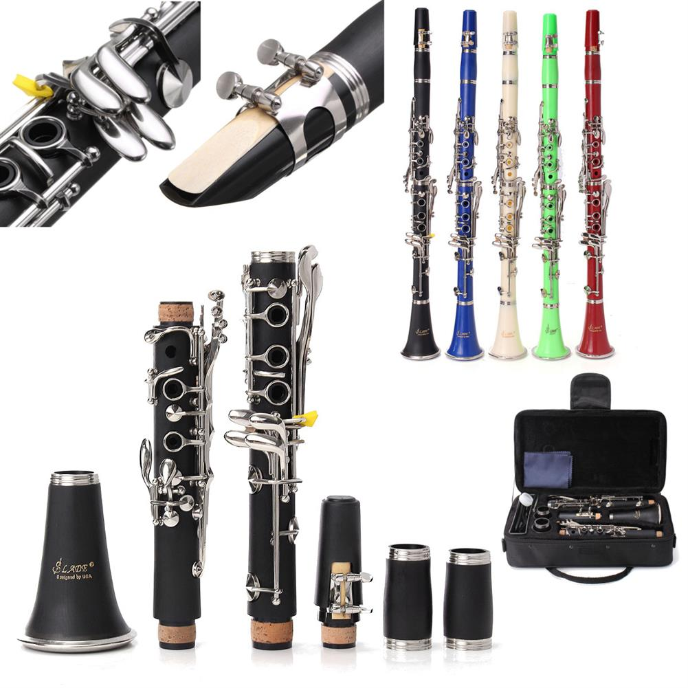 clarinet LADE 17 keys Drop B Multiple Colour Clarinet with Portable Case/Cleaning Cloth HOB1516209 1