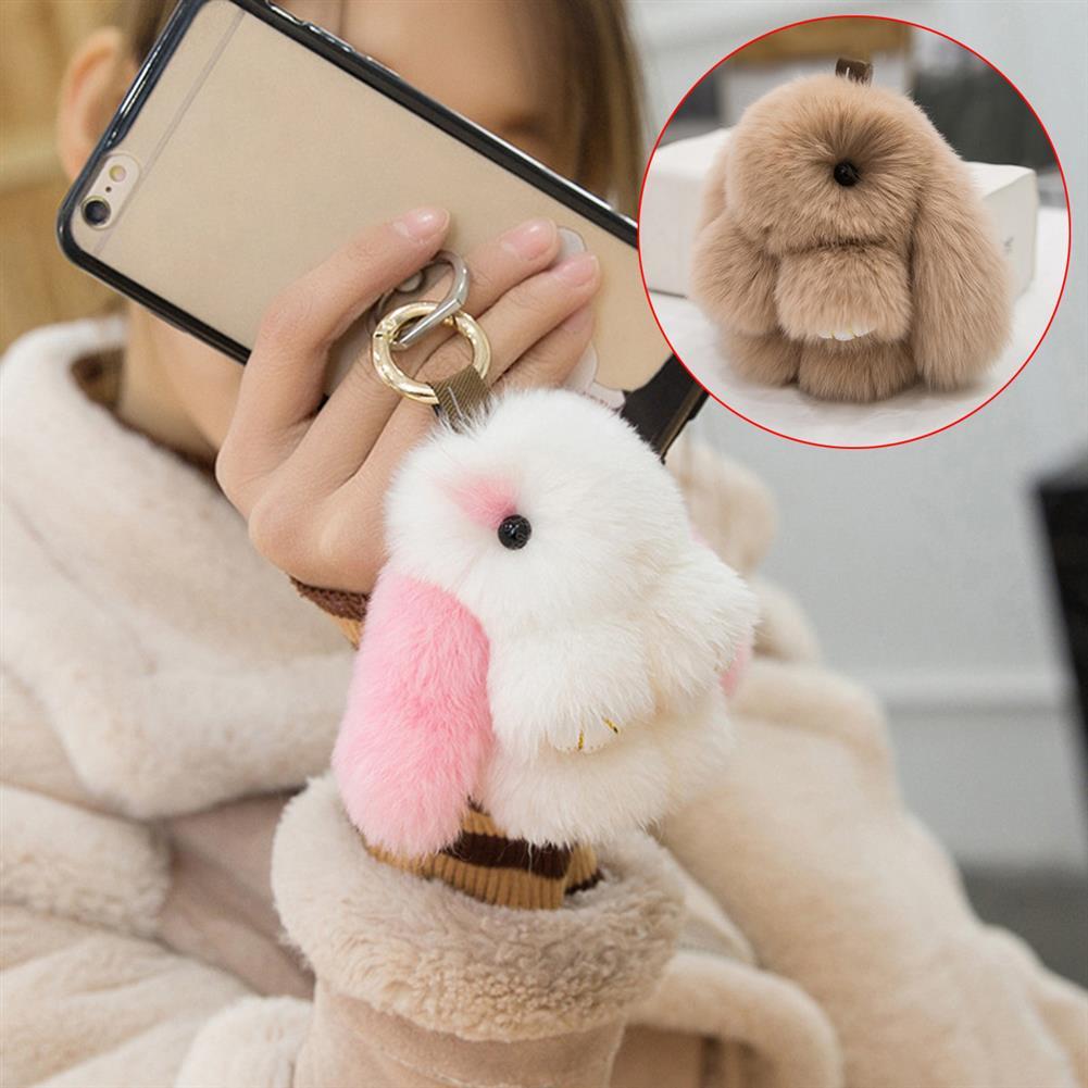 doll-house-miniature Cute Rabbit Key Chain Soft Bunny Fluffy Doll Bag Pendant Car Keyring HOB1522939 2