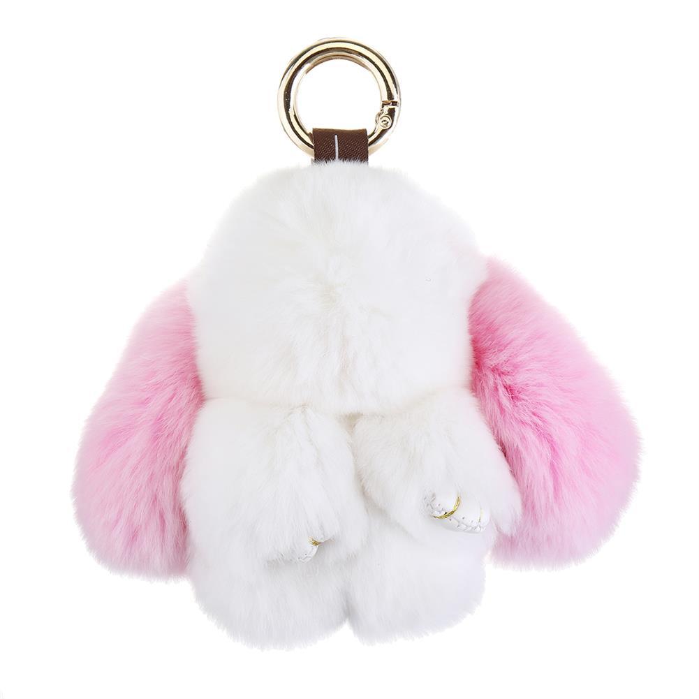 doll-house-miniature Cute Rabbit Key Chain Soft Bunny Fluffy Doll Bag Pendant Car Keyring HOB1522939 3