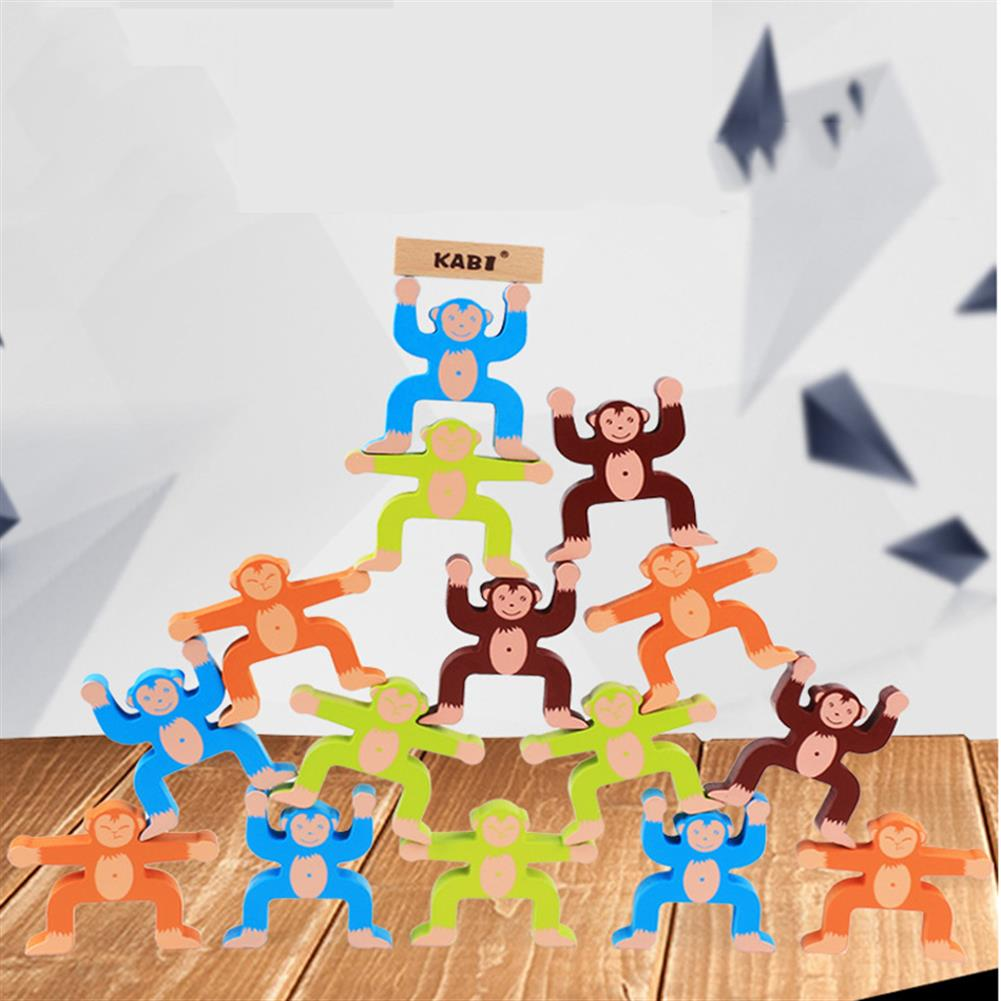 blocks-track-toys 16pcs Wooden Stacking Games Monkeys interlock Toys Balance Blocks Toys Games Kids Toy Balance Game Toy for Baby Children Gifts HOB1536500