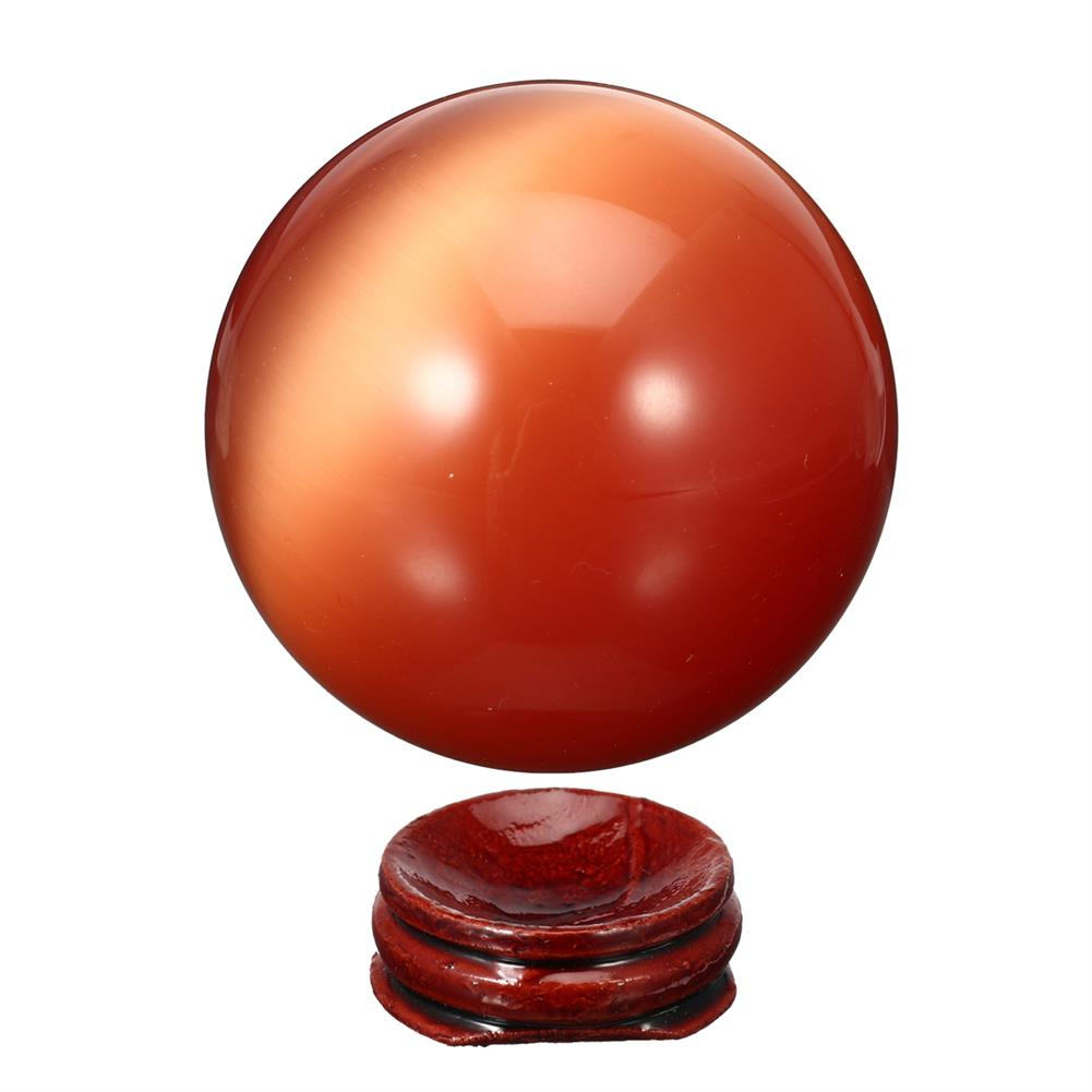decoration Cat Eye Crystals Ball Sphere 50-60mm Asian Quartz Rock Healing Home Decor + Stand HOB1537669