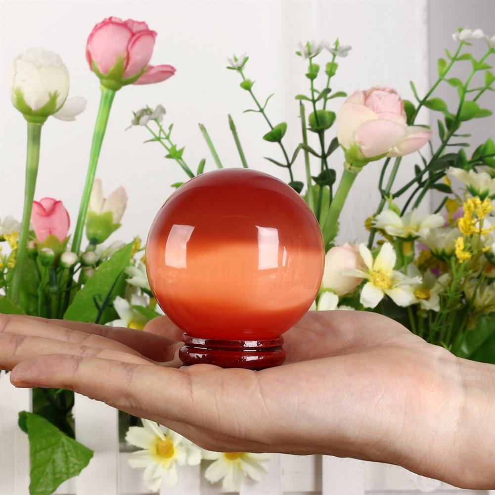 decoration Cat Eye Crystals Ball Sphere 50-60mm Asian Quartz Rock Healing Home Decor + Stand HOB1537669 3