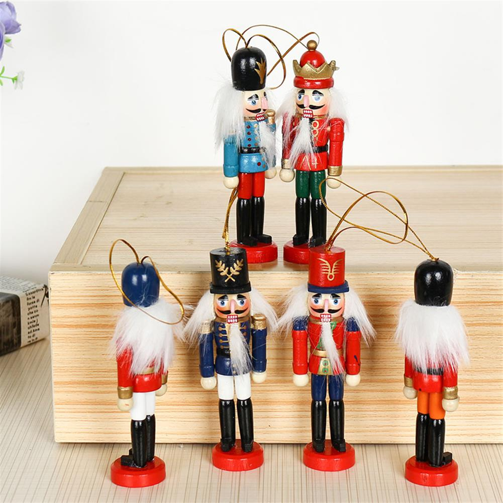 sorting, nesting-stacking-toys 6Pcs 12cm Wooden Nutcracker Soldier Desktop Decorations Collections Birthday Gift for Friends HOB1537673