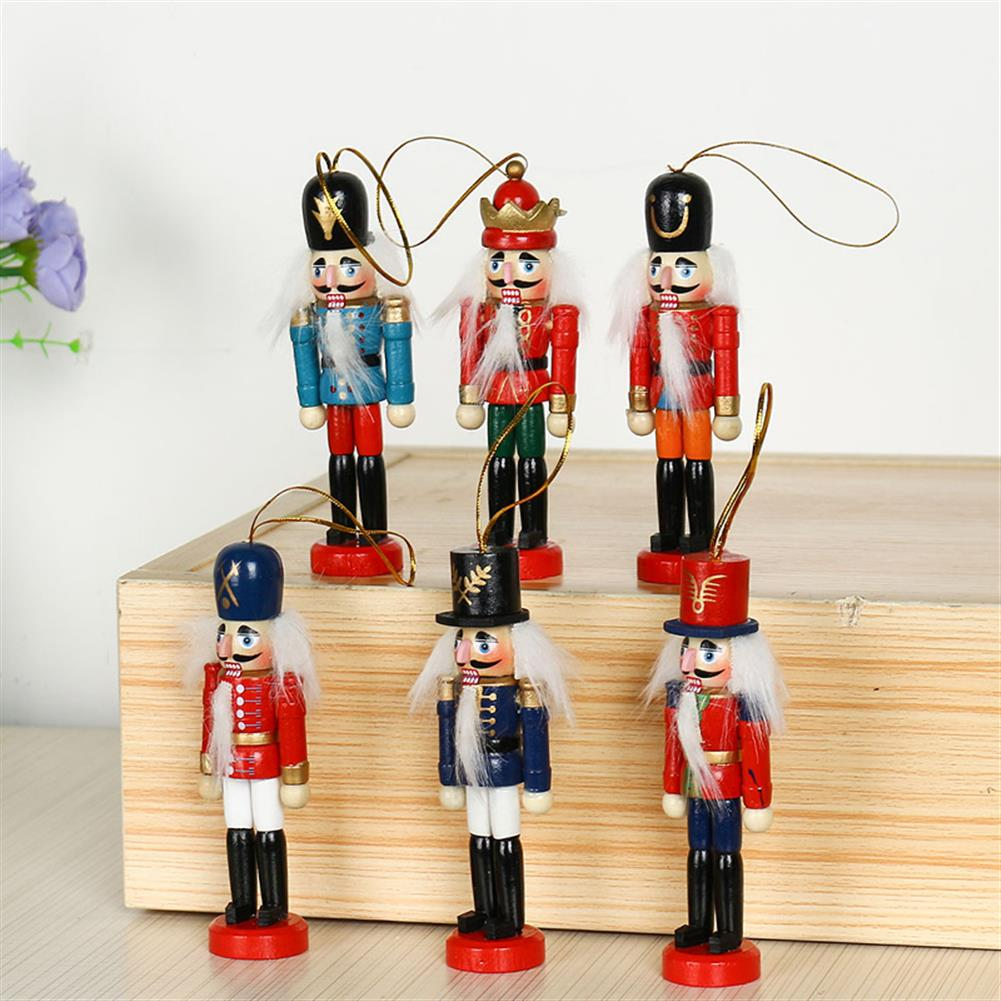 sorting, nesting-stacking-toys 6Pcs 12cm Wooden Nutcracker Soldier Desktop Decorations Collections Birthday Gift for Friends HOB1537673 1