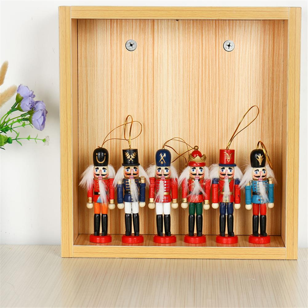 sorting, nesting-stacking-toys 6Pcs 12cm Wooden Nutcracker Soldier Desktop Decorations Collections Birthday Gift for Friends HOB1537673 2