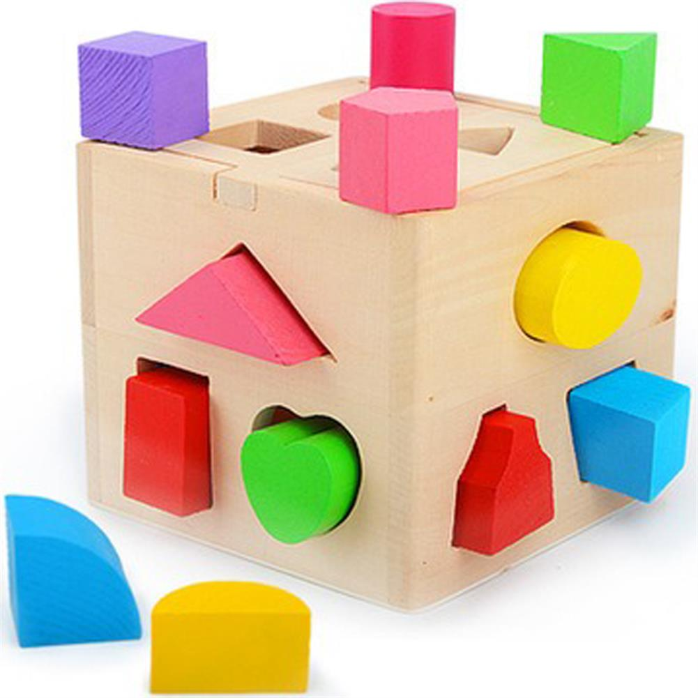 blocks-track-toys 13 Holes Wooden intelligence Box Building Blocks Toys Puzzle Children's Toy Shape Paired Enlightenment Wood HOB1540183