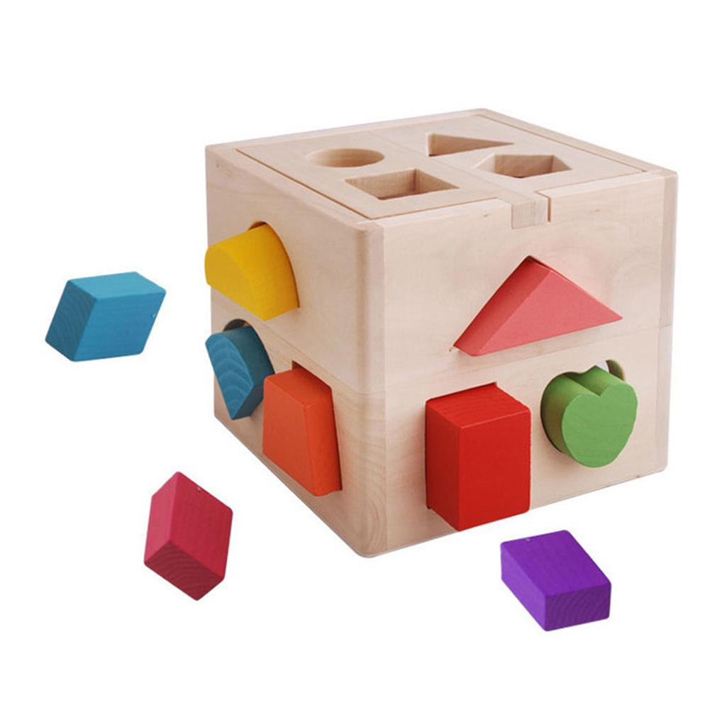blocks-track-toys 13 Holes Wooden intelligence Box Building Blocks Toys Puzzle Children's Toy Shape Paired Enlightenment Wood HOB1540183 1