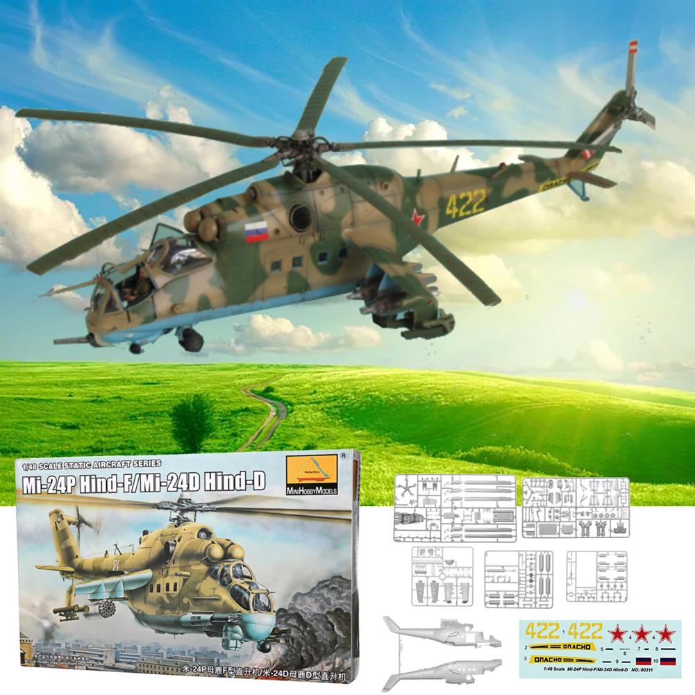 plane-parachute-toys Mi-24P Hind-F/Mi-24D Hind-D 1:48 Scale Static Aircraft Series Helicopter Model Toys HOB1545806