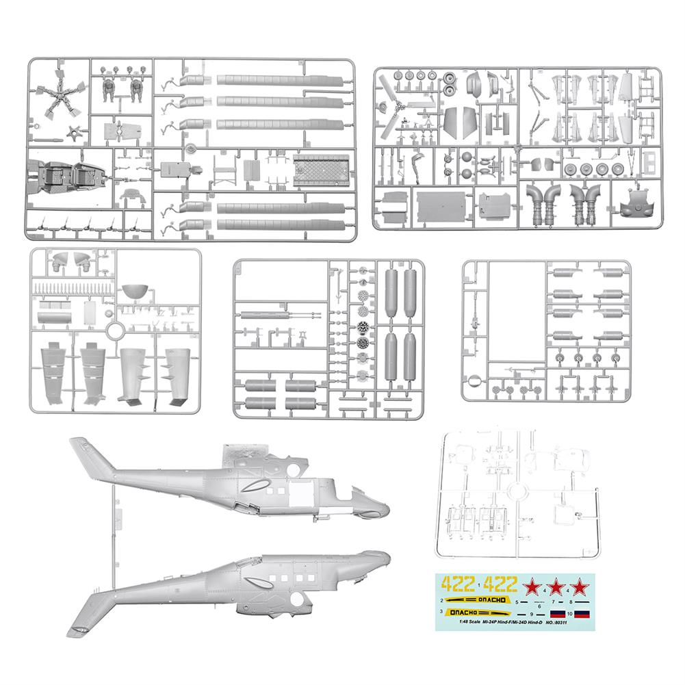 plane-parachute-toys Mi-24P Hind-F/Mi-24D Hind-D 1:48 Scale Static Aircraft Series Helicopter Model Toys HOB1545806 1