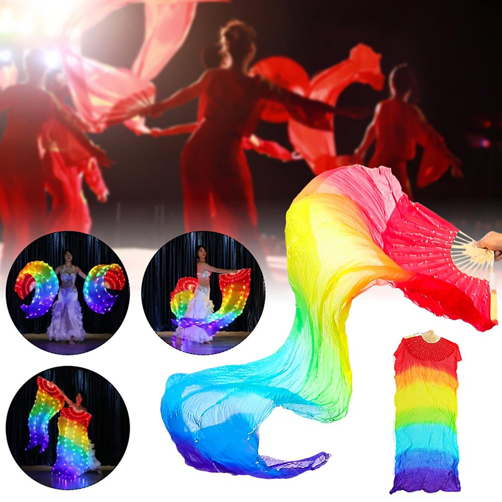 magnetic-toys Mall Belly Dance LED Fan Veil Bamboo Fans Veil Hand Made Silk Fan for Dance/Outdoor Stage Prop Activities Tools Decorations 180cm*90cm HOB1551572