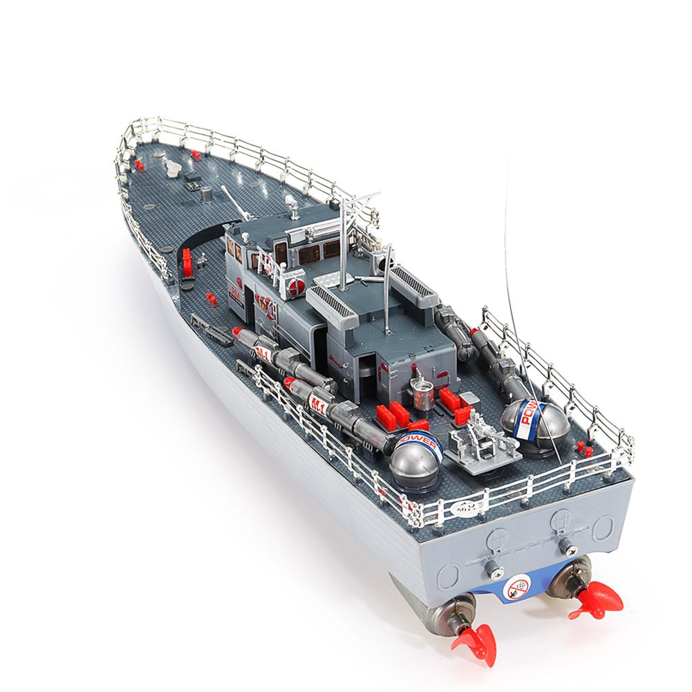 rc-boat 1/115 2.4G EHT-2877 Missile Destroyer RC Boat 4km/h with 2 Motor And Light Vehicle Models HOB1552002 1